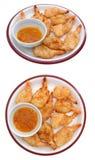 Vista dos del plato del camarón del coco Imagenes de archivo