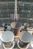 A vista dos motores principais da descoberta do vaivém espacial desloca sobre fotos de stock royalty free