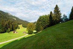 Vista dos prados alpinos bem arrumados com anexo e da estrada que estica na distância imagem de stock