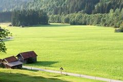 Vista dos prados alpinos bem arrumados com anexo e da estrada que estica na distância imagens de stock