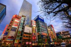 Vista dos sinais de néon e das propagandas do quadro de avisos no cubo da eletrônica de Akihabara no Tóquio, Japão imagens de stock