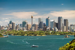 Vista dramática na skyline urbana da cidade de Sydney Fotografia de Stock
