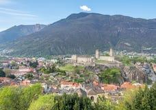 Vista e montagne di paesaggio urbano di Bellinzona Fotografie Stock Libere da Diritti