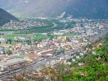 Vista e montagne di paesaggio urbano di Bellinzona Fotografia Stock