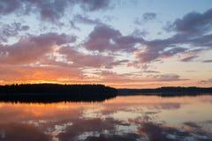 Vista e tramonto del lago Fotografia Stock Libera da Diritti