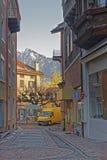 Vista ed alpi della via nella città di cattivo Ragaz Immagini Stock Libere da Diritti