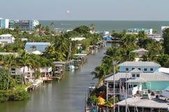 Vista elevada del centro de la ciudad de Myers Beach del fuerte Fotos de archivo libres de regalías