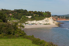 Vista elevada del pueblo costero inglés BRITÁNICO de Devon England de la playa de la cerveza en la costa jurásica Imagen de archivo libre de regalías
