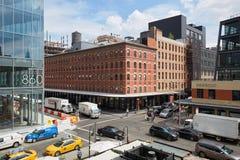 Vista elevata strada trasversale del distretto di imballaggio della carne a New York Fotografie Stock Libere da Diritti