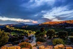 Vista em Agrigento na noite Fotografia de Stock