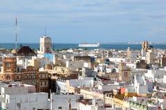 Vista em Cadiz da catedral, Spain Fotos de Stock Royalty Free
