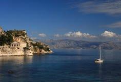 Vista em Corfu Greece fotografia de stock