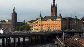 Vista em Gamla Stan em Éstocolmo Cidade velha sweden video estoque