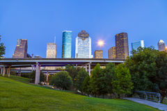Vista em Houston do centro dentro tarde Imagem de Stock Royalty Free