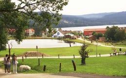 Vista em Lipno com lagos, casas de campo e montanhas Fotografia de Stock Royalty Free