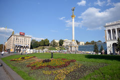 Vista em Maidan em Kiev Imagem de Stock