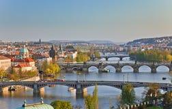 Vista em pontes de Praga Foto de Stock Royalty Free