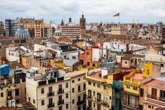 Vista em quadrados, constru??es, ruas de Val?ncia na Espanha imagens de stock