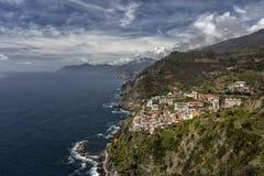 Vista em Riomaggiore, terre de Cinque, Liguria, Itália Foto de Stock Royalty Free