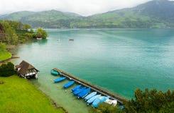 Vista em Thunersee da vila de Spiez em Suíça fotos de stock royalty free