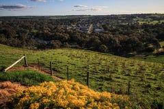 Vista em uma cidade no Sul da Austrália perto de Mt Gambieron a maneira a Victoria durante a primavera, Austrália Fotografia de Stock Royalty Free