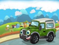 Vista engraçada dos desenhos animados militar fora do caminhão da estrada que conduz através da cidade ou estacionamento Imagem de Stock