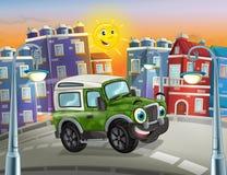 Vista engraçada dos desenhos animados militar fora do caminhão da estrada que conduz através da cidade ou estacionamento Imagens de Stock