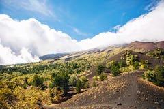 A vista ensolarada com montanha bonita e o vulcão ajardinam, Sicília, Itália, Etna Imagem de Stock Royalty Free