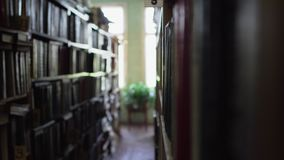 Vista entre fileiras na biblioteca video estoque