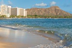 Vista escénica de Diamond Head y de la playa de Waikiki Fotografía de archivo