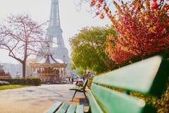 Vista escénica de la torre Eiffel con la flor de cerezo fotografía de archivo
