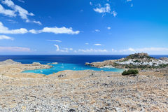 Vista escénica de Lindos, isla de Rodas (Grecia) Foto de archivo