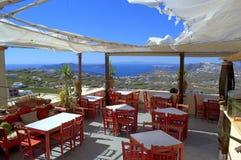 Vista escénica de Santorini de un café Imagenes de archivo