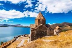 Vista escénica de una iglesia vieja de Sevanavank en Sevan, Armenia Fotografía de archivo