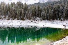 Vista escénica del karersee del lago Imagen de archivo