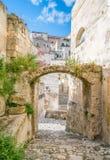 Vista escénica en Matera en el distrito del ` de Sassi del `, Basilicata, Italia meridional Foto de archivo