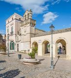Vista escénica en Matera en el distrito del ` de Sassi del `, Basilicata, Italia meridional Foto de archivo libre de regalías