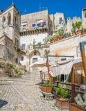 Vista escénica en Matera en el distrito del ` de Sassi del `, Basilicata, Italia meridional Fotografía de archivo