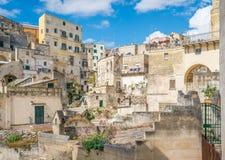 Vista escénica en Matera en el distrito del ` de Sassi del `, Basilicata, Italia meridional Imágenes de archivo libres de regalías