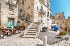 Vista escénica en Matera en el distrito del ` de Sassi del `, Basilicata, Italia meridional Fotos de archivo