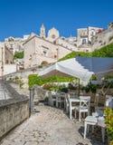 Vista escénica en Matera en el distrito del ` de Sassi del `, Basilicata, Italia meridional Imagenes de archivo
