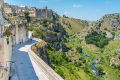 Vista escénica en Matera en el distrito del ` de Sassi del `, Basilicata, Italia meridional Imagen de archivo