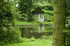 Vista escandinava verde brilhante bonita ao lado do rio Imagem de Stock