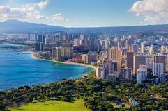Vista espectacular de la ciudad de Honolulu fotografía de archivo