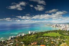 Vista espectacular de la ciudad de Honolulu, Hawaii fotografía de archivo