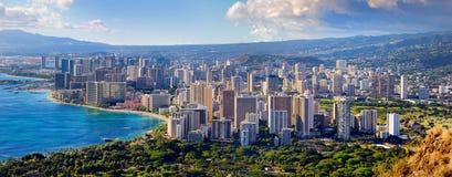 Vista espectacular de la ciudad de Honolulu, Oahu imagen de archivo