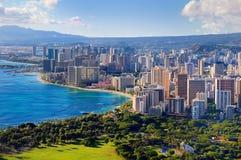 Vista espectacular de la ciudad de Honolulu, Oahu imagenes de archivo