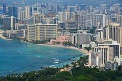 Vista espectacular de la ciudad de Honolulu, Oahu fotos de archivo