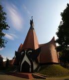 Vista esteriore alla chiesa luterana evangelica in Siofok, Ungheria fotografia stock