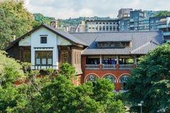 Vista esteriore del museo della sorgente di acqua calda di Beitou fotografia stock